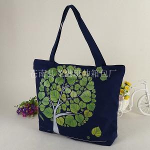 廠家定做彩印優質大號帆布袋環保純棉布手提拉鏈購物包裝袋-- 袁春利