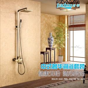 廠家直銷 全銅仿古大淋浴花灑套裝浴室多功能節水冷熱沐浴水龍頭-- 盛世唐朝衛浴